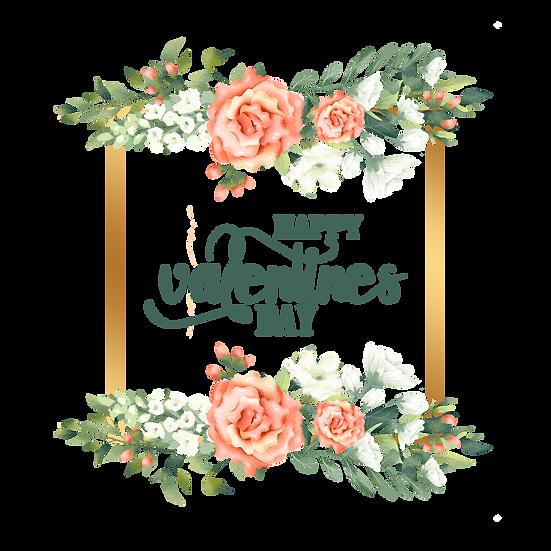 Valentine's Day Botanic Greeting Card PNG Transparent Image - Instant Download