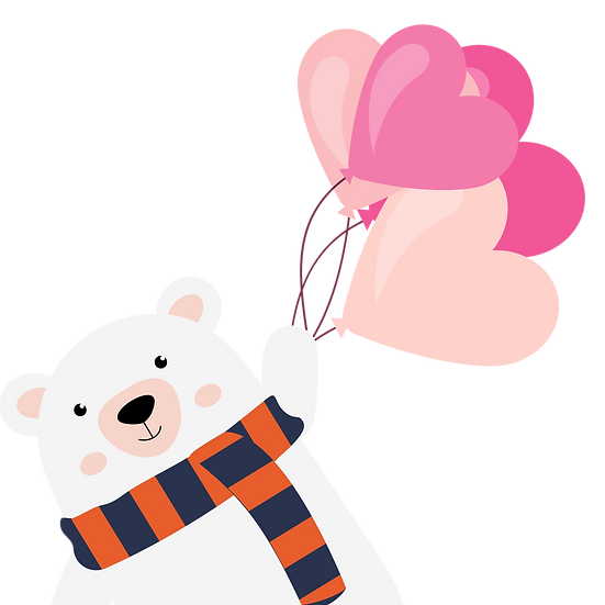 Ice Bear with Heart-Shaped Balloons, Valentine's Day PNG Image, Instant Download