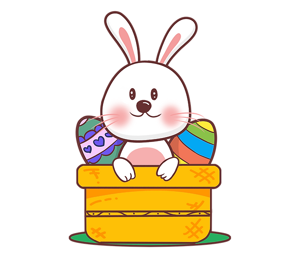 Easter Bunny in a Basket with Easter Eggs - Transparent Image - Instant Download
