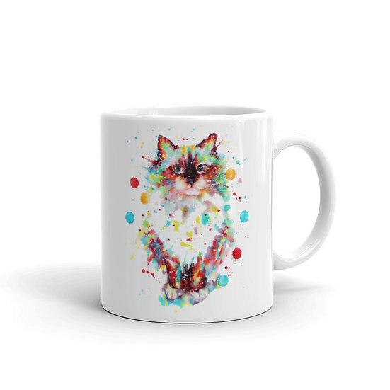 Watercolor Cat Coffee Cup Mug for Coffee / Tea White Ceramic Mugs 11/15 oz1