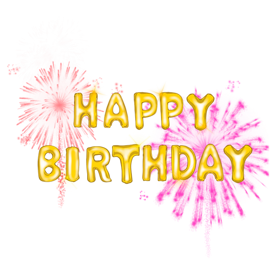 Happy Birthday Inscription with Fireworks PNG Transparent Image Digital Download