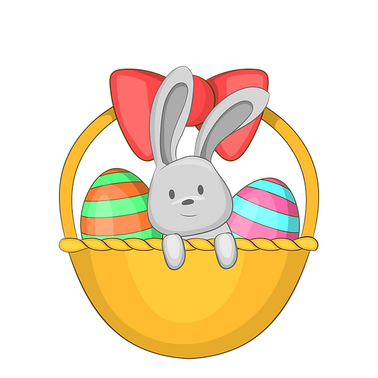 Lovely Bunny in the Basket with Eggs - PNG Transparent Image - Instant Download