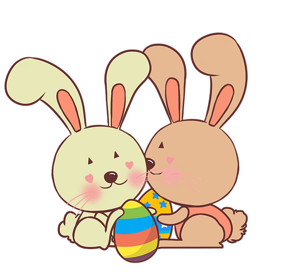 Couple of Lovely Bunnies - Easter PNG Transparent Image - Instant Download