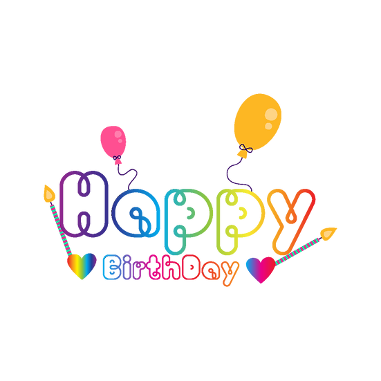 Happy Birthday Bright Clipart - PNG Transparent Image - Digital Download