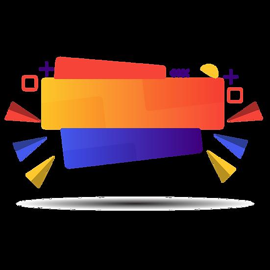 Cool Orange and Blue Banner - Free PNG Image, Transparent Image Instant Download