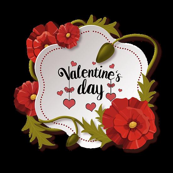 Valentine's Day Floral Greeting Card PNG Transparent Image - Instant Download
