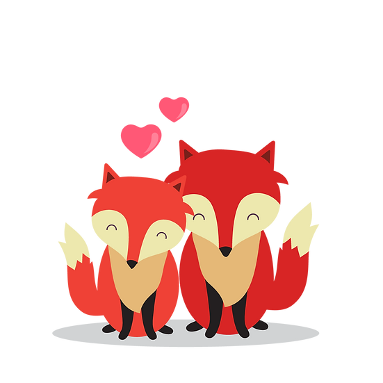 Foxy Love - Valentine's Day PNG Transparent Image - Instant Download