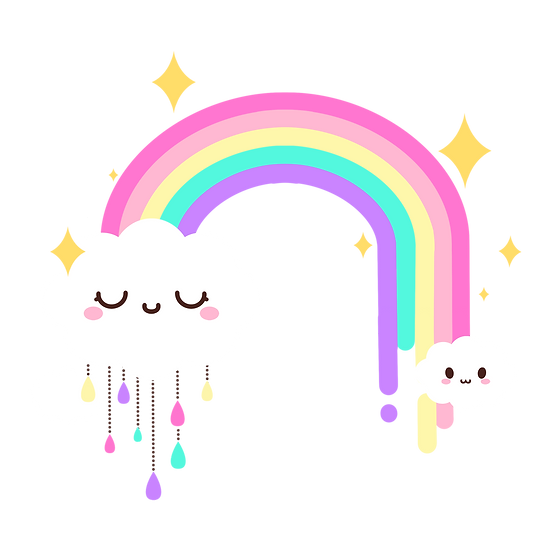 Kawaii Clouds and Rainbow - Free PNG Images, Transparent Image Instant Download