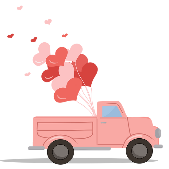 Car with Heart Balloons - Free PNG Images, Transparent Image Digital Download