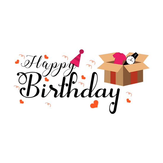 Birthday Clipart with Box Full of Gifts - Transparent Image - Digital Download