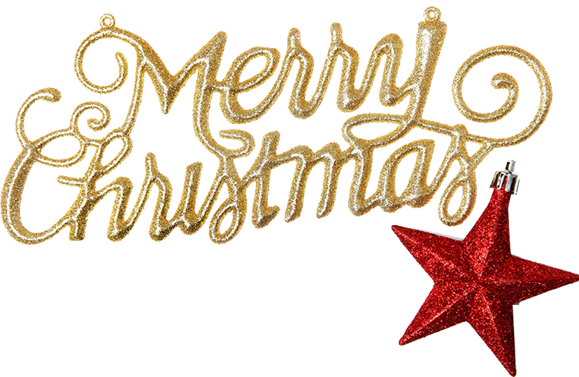 Merry Xmas Inscription with Star Free PNG Images - Free Digital Image Download
