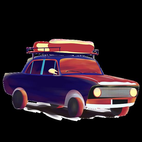 Retro Car Clipart - Free PNG Images, Transparent Image Instant Download