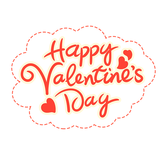 Cloud with Inscription Happy Valentine's Day - PNG Image - Instant Download