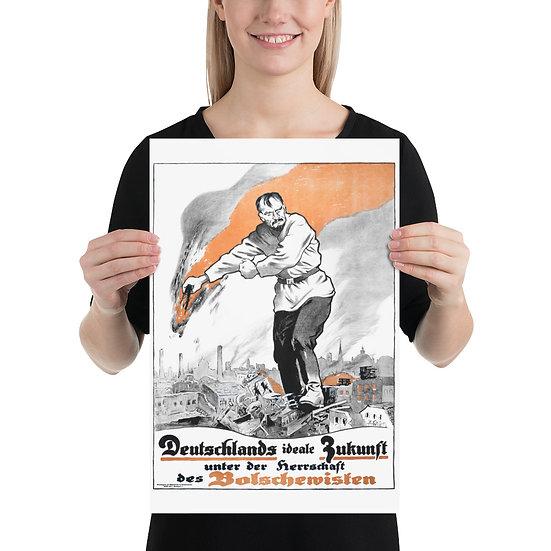 WW1 German Bolshevik Revolution Poster, WWI Germany 1918 year