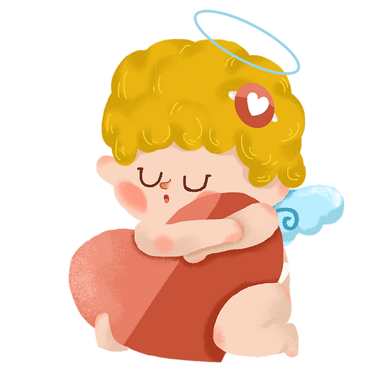 Sleepy Cupid with Heart - Valentine's Day Transparent Image - Instant Download