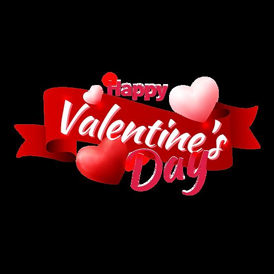 Romantic Inscription Happy Valentine's Day Transparent Image - Instant Download