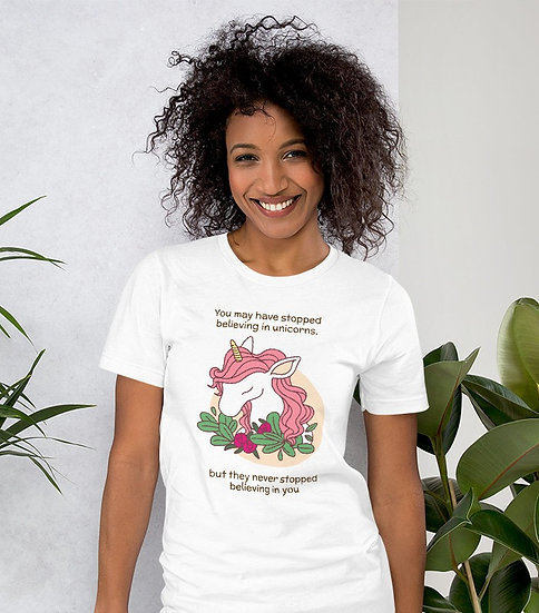 Unicorns Never Stopped Believing in You Design Short-Sleeve Women's T-Shirt
