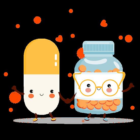Pill and Medicine Bottle - Valentine's Day Transparent Image - Instant Download