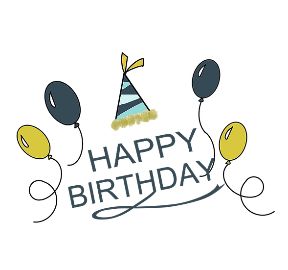 Birthday Clipart with Balloons - PNG Transparent Image - Digital Download