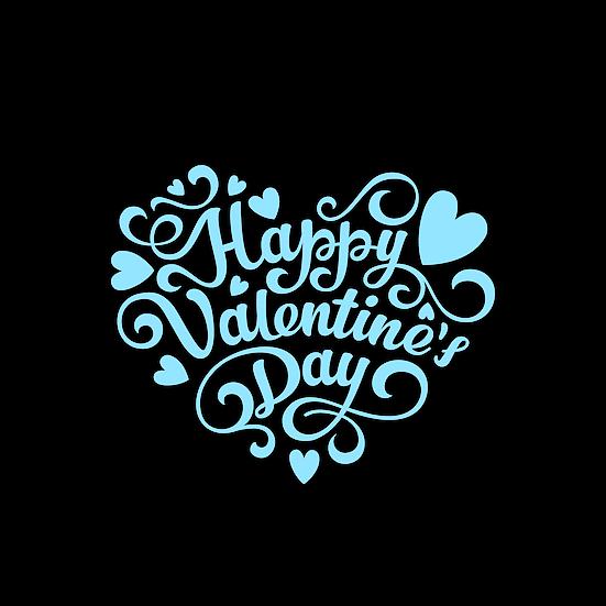 Happy Valentine's Day Blue Inscription PNG Transparent Image - Instant Download