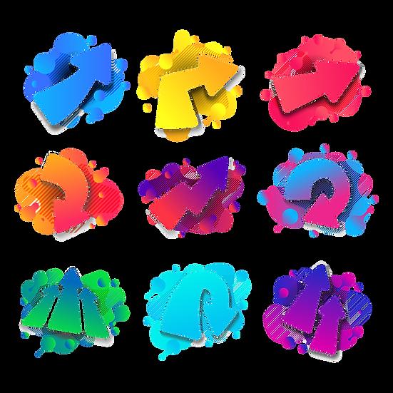 Colorful Arrows Clipart - Free PNG Images, Transparent Image Digital Download