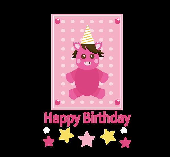 Cute Birthday Greeting Card - PNG Transparent Image - Digital Download