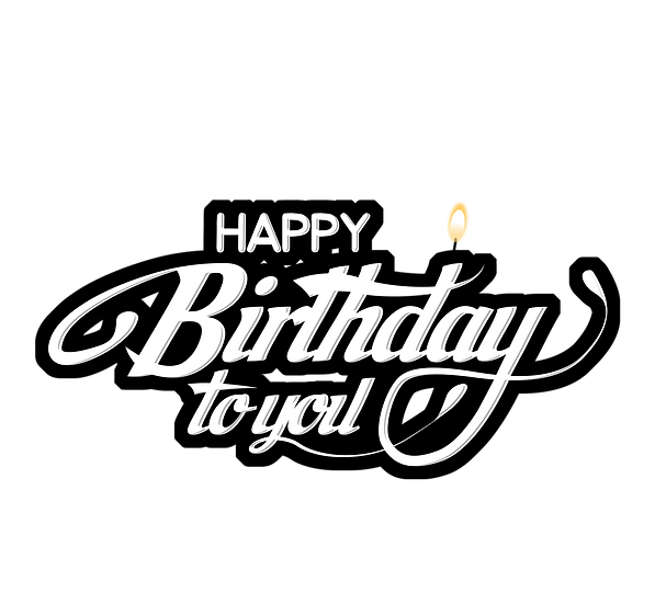 Birthday Black n White Inscription - PNG Transparent Image - Digital Download