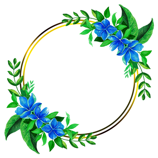 Circle with Blue Flowers - Free PNG Images, Transparent Image Digital Download