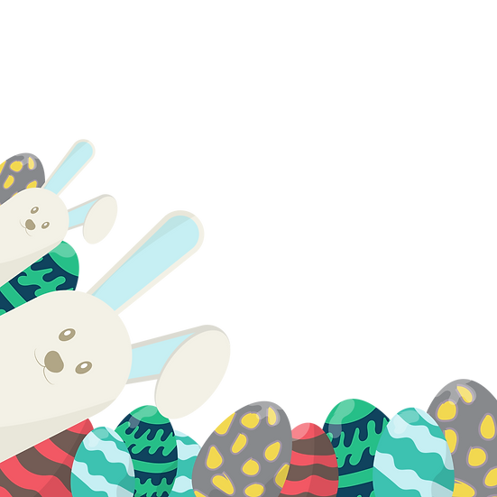 Fantastic Easter Clipart with Eggs and Bunnies - PNG Image - Instant Download