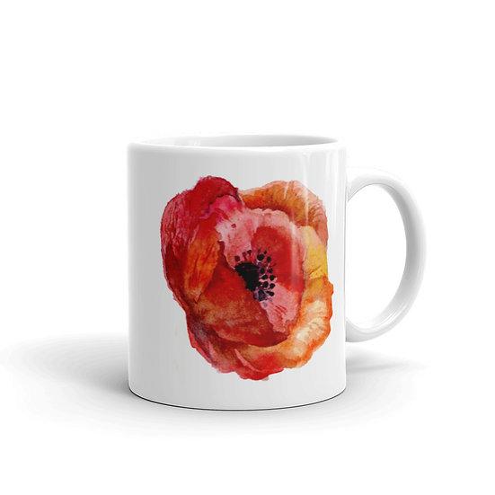 Watercolor Red Poppy Coffee Cup Mug for Coffee / Tea White Ceramic Mugs 11/15 oz1