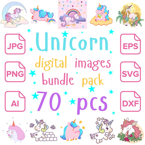 Unicorn SVG, PNG Bundle Pack 70 pcs - Unicorns Digital Images Instant Download