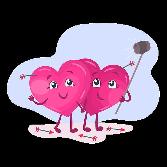 Two Hearts Taking Selfie - Free PNG Images, Transparent Image Digital Download