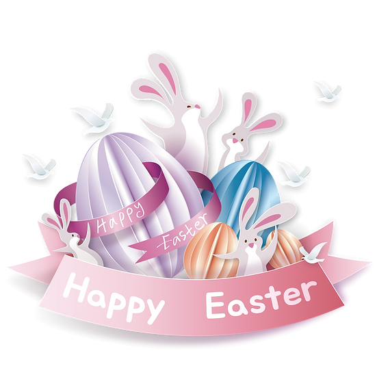 Happy Easter Charming Greeting Card - PNG Transparent Image - Instant Download