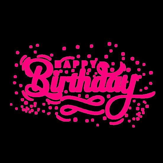 Birthday Pink Inscription - PNG Transparent Image - Digital Download