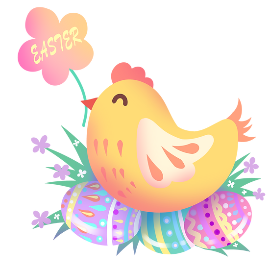 Chicken Sitting on the Easter Eggs - PNG Transparent Image - Instant Download