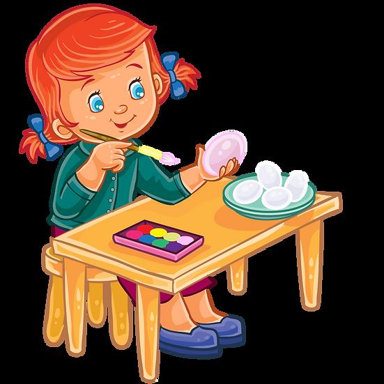 Little Girl Painting Easter Egg - PNG Transparent Image - Instant Download