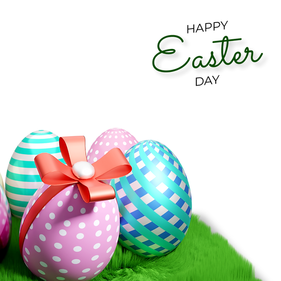 Happy Easter Day 3D Clipart with Eggs - PNG Transparent Image - Instant Download