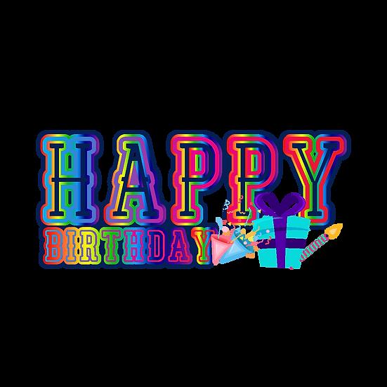 Happy Birthday Bright Inscription - PNG Transparent Image - Digital Download