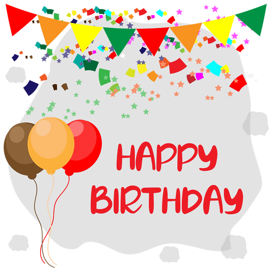 Birthday Greeting Card with Balloons and Confetti - PNG Image - Digital Download