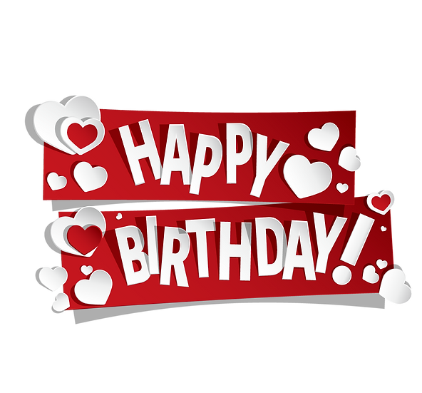 Awesome Birthday Clipart with Hearts - PNG Transparent Image - Digital Download