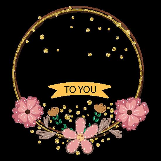 Happy Birthday Floral Design Incription PNG Transparent Image - Digital Download