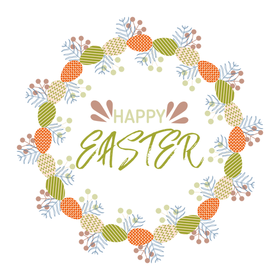 Colorful Easter Greeting Card - PNG Transparent Image - Instant Download