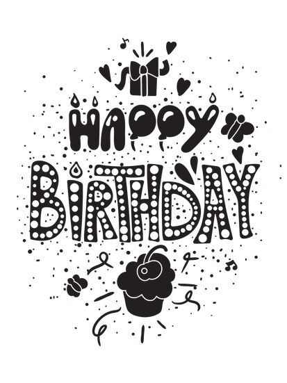 Happy Birthday Black n White Clipart - PNG Transparent Image - Digital Download