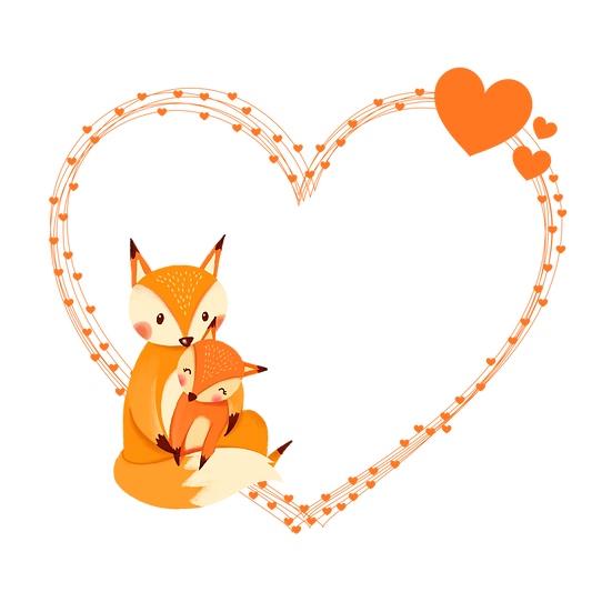 Heart Border with Foxes - Free PNG Images, Transparent Image Digital Download