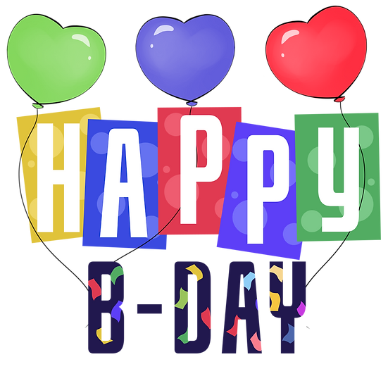 Happy B-Day Clipart - Birthday PNG Transparent Image - Digital Download