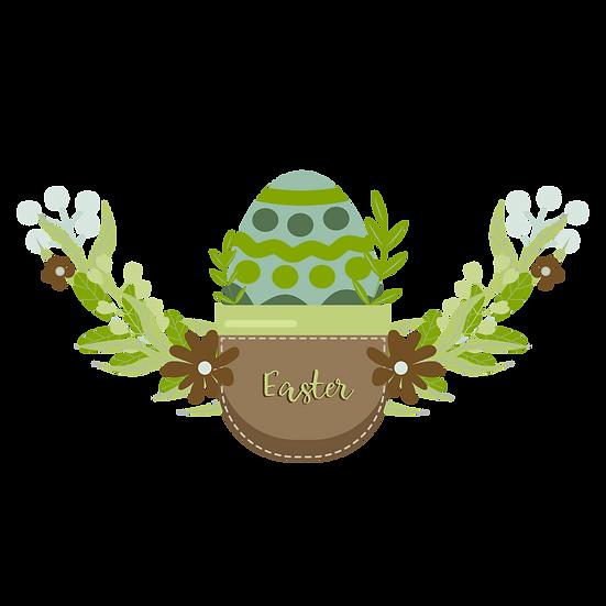 Easter Botanical Clipart with Egg - PNG Transparent Image - Instant Download