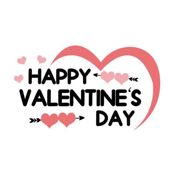 Happy Valentine's Day Cute Inscription PNG Transparent Image - Instant Download
