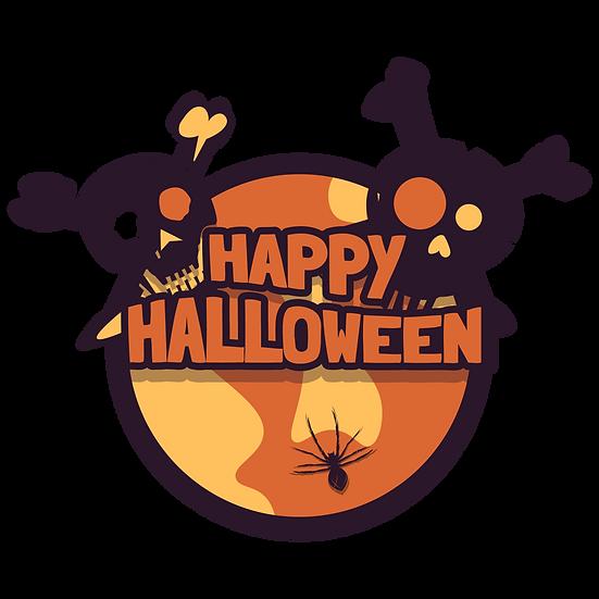 Happy Halloween Skulls Printables PNG Image  - Editable / Downloadable