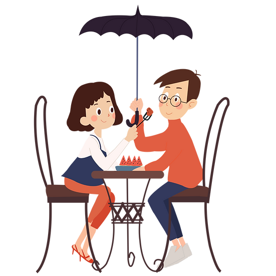 Couple Eating Together - Valentine's Day PNG Transparent Image, Instant Download