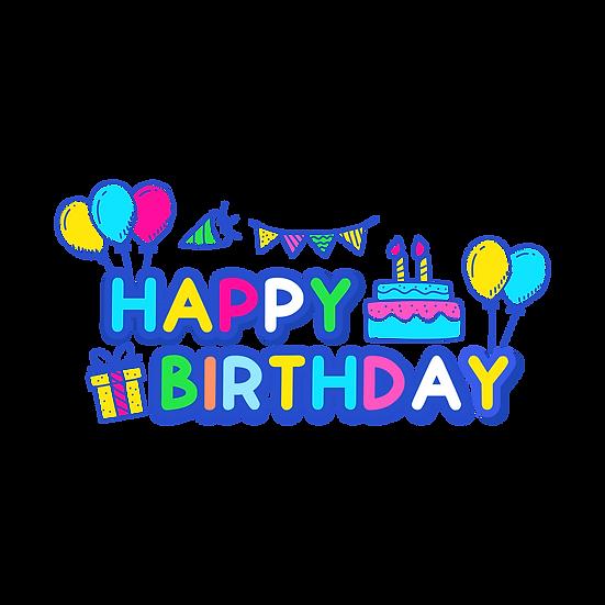 Happy Birthday Cartoon Clipart - PNG Transparent Image - Digital Download